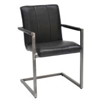 Freischwinger-Stuhl-Davis-schwarz-Esszimmerstuhl-echtes-Leder