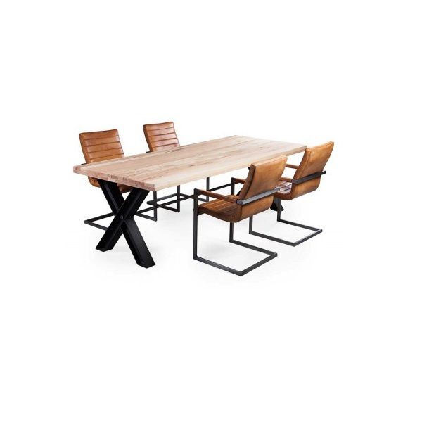 eiche esstisch hino massiv mit x metallbeinen livior m bel im industrie design. Black Bedroom Furniture Sets. Home Design Ideas