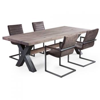 esstisch endresen aus eiche massiv mit x metallbeinen. Black Bedroom Furniture Sets. Home Design Ideas
