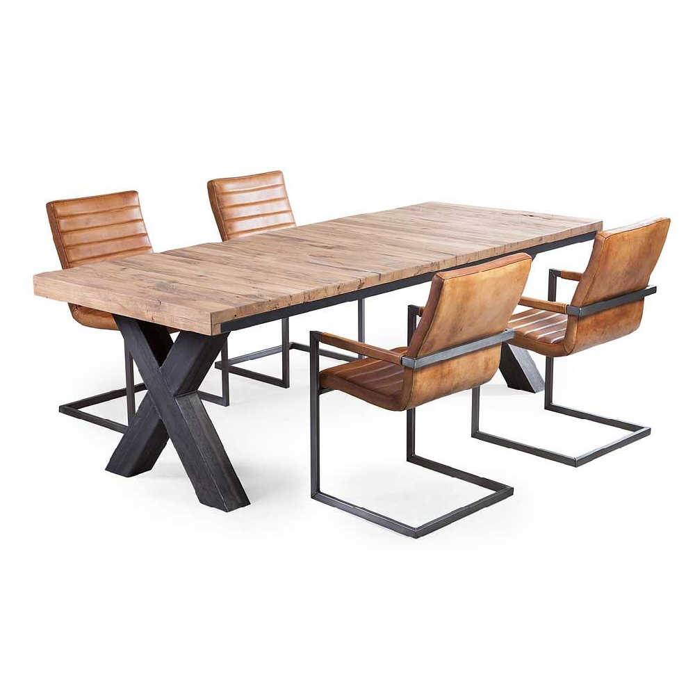 esstisch tony bennett vollmassiv eiche mit x metallbeinen livior m bel im industrie design. Black Bedroom Furniture Sets. Home Design Ideas