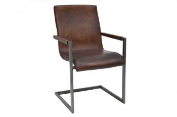 Freischwinger-Stuhl-Jaspar-dunkelbraun-Esszimmerstuhl-echtes-Rindsleder