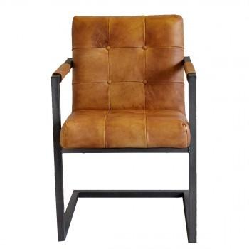 Esszimmer-Stuhl-Basie-cognac-Konferenzstuhl-echt-Leder-