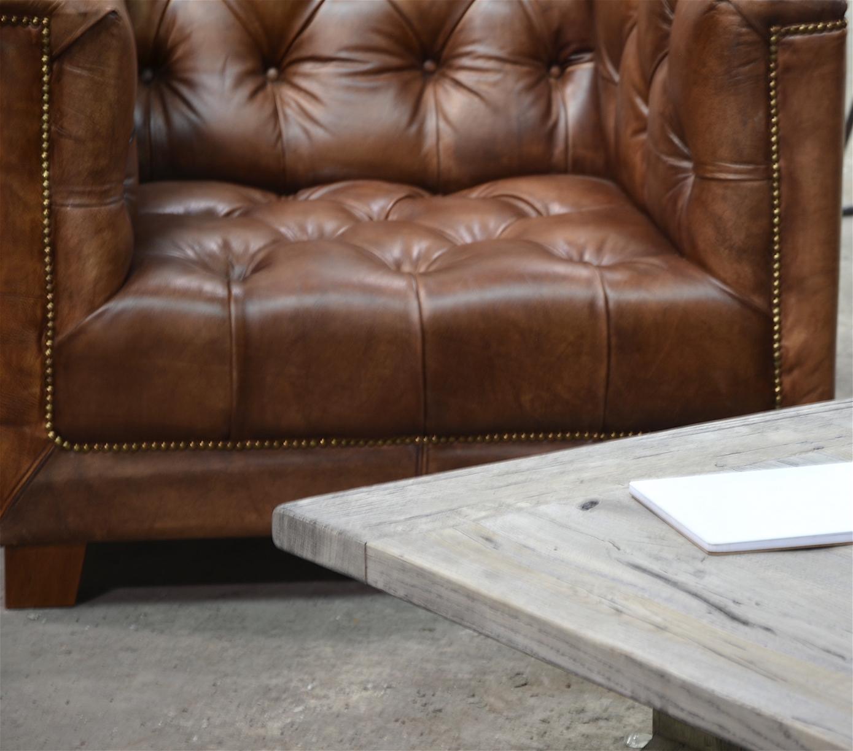 Chesterfield Sofa One Seater Aus Büffelleder