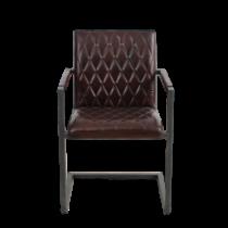 Lederstuhl mit einzigartigem Design. Steppung im Industrial Design.